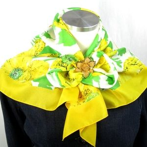 Yellow Square Scarf Vintage Flowers Green Leaves